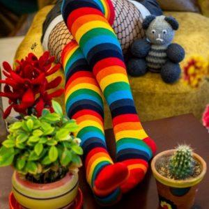 جوراب ساق بلند رنگین کمان فروشگاه آذینو